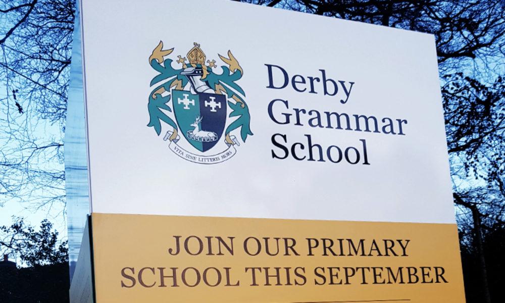 Totem signage Derby Grammar School